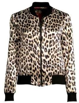 Alice + Olivia Lonnie Reversible Leopard Bomber Jacket