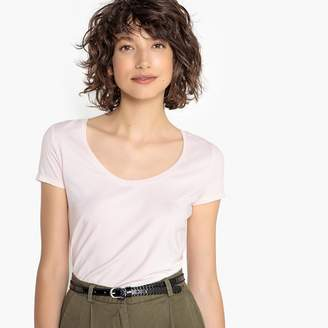 La Redoute Collections Short-Sleeved T-Shirt with Deep Scoop Neck