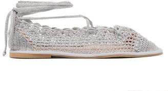 ALEXACHUNG Metallic Crochet Knitted Flats - Womens - Silver