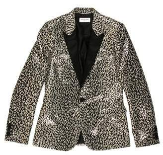 Saint Laurent Satin-Trimmed Metallic Babycat Blazer w/ Tags