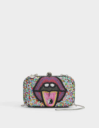 Two Bad Box Clutch in Multi Colour Beads and Polyester