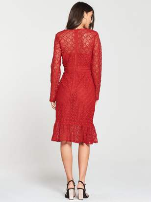 Very Premium Lace Pencil Dress - Red