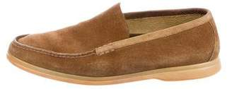 Loro Piana Suede Round-Toe Loafers