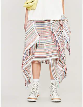 J.W.Anderson Striped handkerchief cotton-blend midi skirt