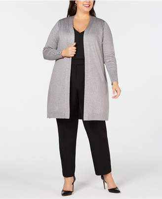 JM Collection Plus Size Lace-Up Metallic Cardigan