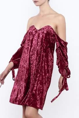 ALPHA & OMEGA Off Shoulder Velvet Dress