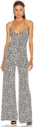 Norma Kamali Low Back Slip Jumpsuit in Baby Leopard | FWRD