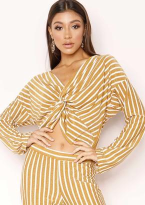 be289367ad2d Missy Empire Missyempire Nova Gold Stripe Glitter Knot Top