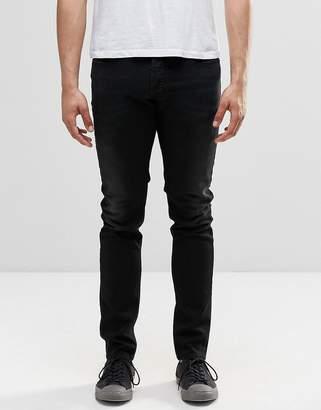 Diesel Sleenker Skinny Jeans 674S Washed Distressed Black
