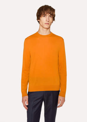 Paul Smith Men's Burnt Orange Crew-Neck Merino Wool Sweater