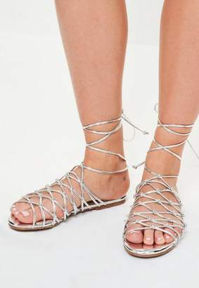 Missguided Silver Knotted Ankle Tie Flat Sandals