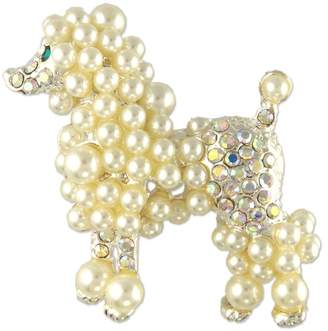 Crystal Pearl Unknown POODLE DOG BROOCH PIN MADE WITH SWAROVSKI ELEMENTS