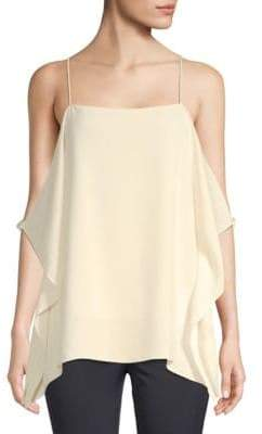 Theory Petteri Draped Cold-Shoulder Crepe Top