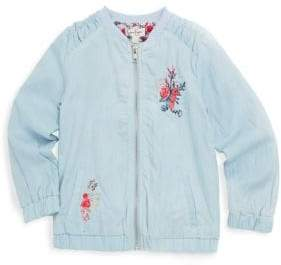 Jessica Simpson Little Girl's Floral Embroidered Cotton Bomber Jacket
