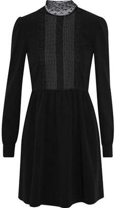 RED Valentino Lace And Point D'esprit-Paneled Crepe Mini Dress