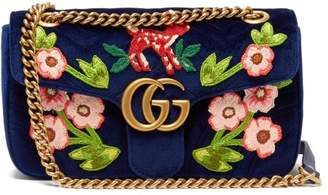 Gucci Gg Marmont Embroidered Velvet Shoulder Bag - Womens - Blue Multi