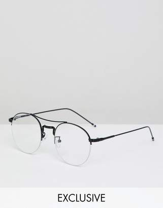 Reclaimed Vintage Inspired Round Clear Lens Glasses In Black