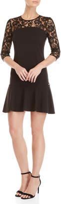 Gaudi' Gaudi Black Lace Yoke Flounce Sheath Dress