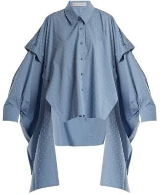 Palmer Harding Palmer//Harding Palmer//harding - Point Collar Fil Coupe Cotton Blend Shirt - Womens - Blue Multi