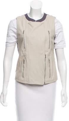 J Brand Leather Zip Vest