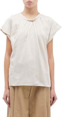 3.1 Phillip Lim Pleated collar cap sleeve stripe top