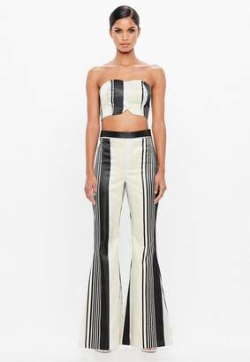Missguided Silver Metallic Stripe Flared Pants