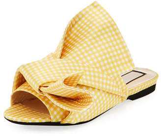No.21 No. 21 Flat Gingham Bow Slide Sandal