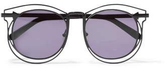 Karen Walker - Superstars Simone Aviator-style Metal Sunglasses - Black $280 thestylecure.com