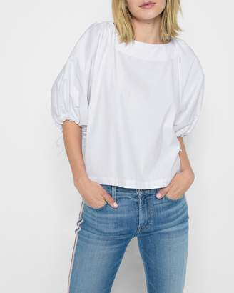 7 For All Mankind Puff Sleeve Tie Top in White