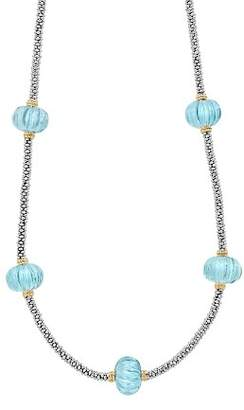 """Lagos 18K Gold & Sterling Silver Caviar Forever Sky Blue Topaz Melon Bead Station Rope Necklace, 16"""""""