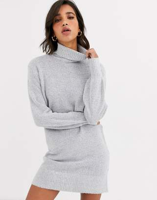 Vila roll neck dress with wide cuff