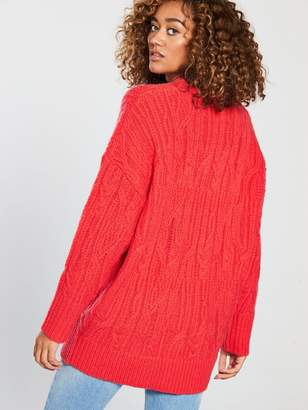 Very Cable Knit Longline Jumper - Poppy Red