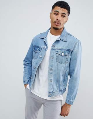 New Look oversized denim jacket in mid blue wash