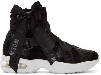 MSGM Black Mesh Logo Ribbons High-Top Sneakers