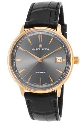 Maurice Lacroix Lc6037-Pg101-330 Men's Les Classiques Auto Black Croco Dial 18K Rose Gold Watch