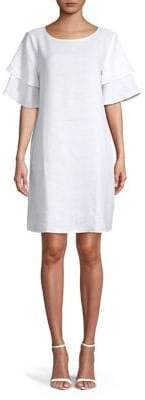 Lord & Taylor Tiered-Sleeve Linen Shift Dress