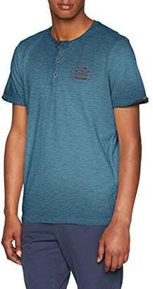 Tom Tailor Men's Basic T-Shirt Mit Einer Dekorativen Knopfleiste Und Kleinen Druck Auf De Rbrust Dark Duck Blue 6748, Large