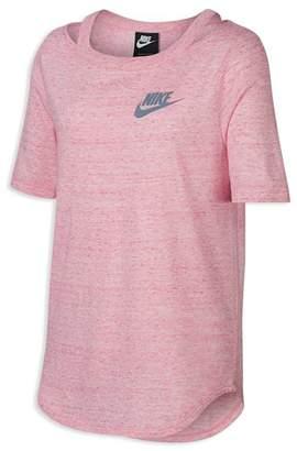Nike Girls' Heathered Cut-Out Tee - Big Kid