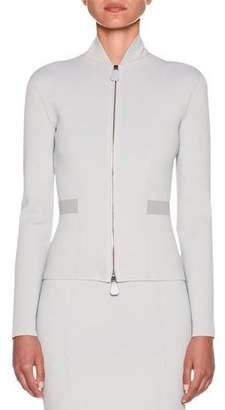Giorgio Armani Funnel-Neck Dual-Zip Crepe Jersey Jacket