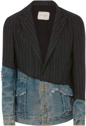 Greg Lauren Striped Wool And Denim Blazer