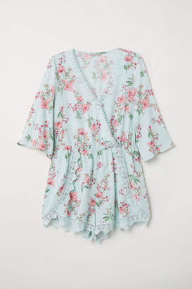 H&M H & M+ Jumpsuit with Lace - Light turquoise/floral - Women