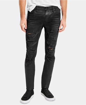 GUESS Men Black Moto Skinny Jeans