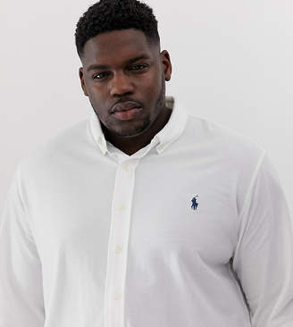Polo Ralph Lauren Big & Tall player logo button down pique shirt in white