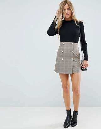 Asos Double Breasted Mini Skirt in Check with Faux Pearl Buttons