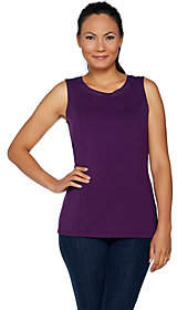 Belle by Kim Gravel Knit Tank with Faux LeatherTrim