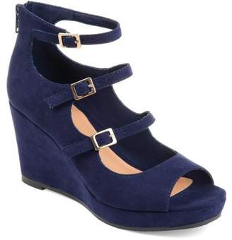 Co Brinley Womens Open-toe Strappy Faux Suede Wedges