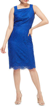 London Times Square-Neck Sleeveless Lace Sheath Dress