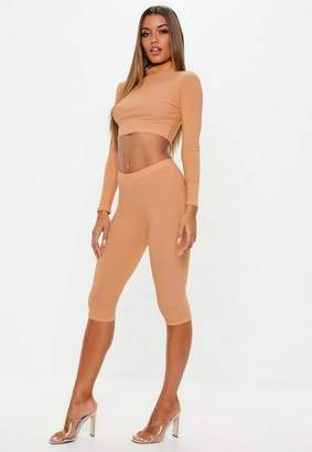 Missguided Camel Biker Shorts High Neck Crop Top Co Ord