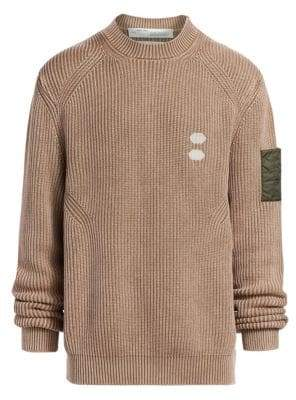 Off-White Cotton & Cashmere Ribbed Sweater