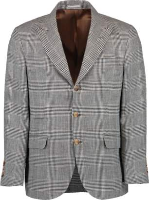 Brunello Cucinelli Houndstooth Plaid Flap Pocket Jacket